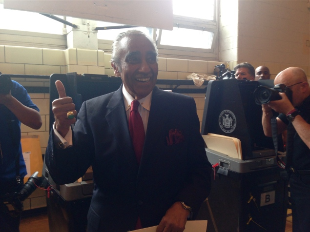 Congressman Charlie Rangel casts a vote for himself in the 2014 Democratic primary election for District 13.