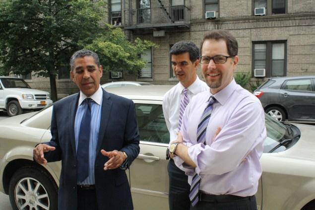 State Senator Adriano Espaillat with Councilmen Ydanis Rodriguez and Mark Levine. (Photo: Ross Barkan)