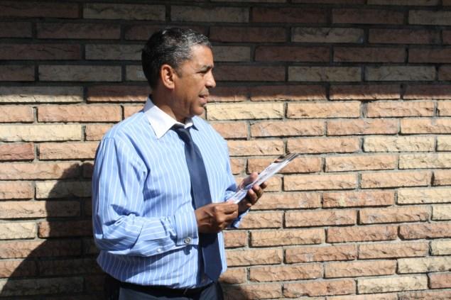 State Senator Adriano Espaillat on the campaign trail. (Photo: Ross Barkan)