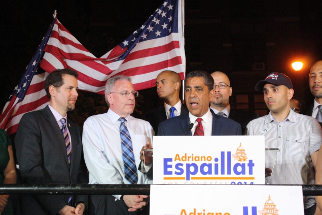 State Senator Adriano Espaillat on election night. (Photo: Ross Barkan)