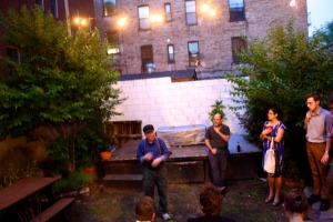 Mr. Kirchheimer held a discussion after his films in the quaint backyard of UnionDocs.
