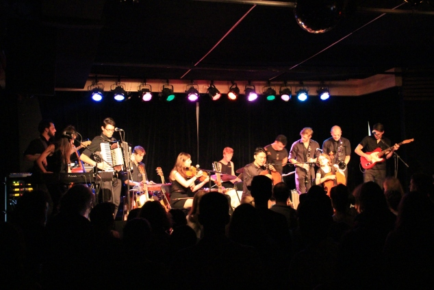 The band barely fit on the stage with 12 members and large instruments. (Meredith Carey)