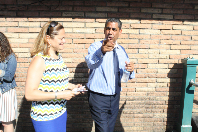 State Senator Adriano Espaillat campaigning with  Council Speaker Melissa Mark-Viverito on Tuesday. (Photo: Ross Barkan)