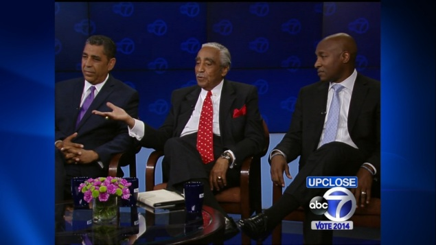 The three contenders in the race for the 13th Congressional District. (Screengrab: ABC 7)