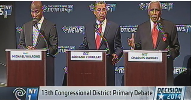 The three candidates for the 13th Congressional District faced off in a NY1-sponsored debate tonight.
