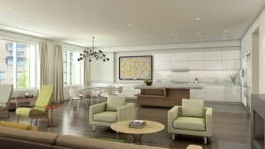 A rendering of one of the interiors.