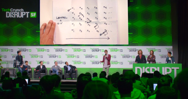 Pied Piper presents at a the fictional TechCrunch Disrupt. (Screengrab via HBO)
