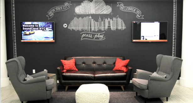 Chalkboard wall appears to deviate from the whiteboard wall standard set by so many midtown tech offices. (Photo via SoundCloud)