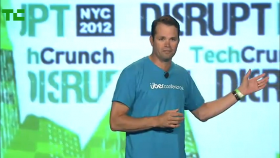 Mr. Walker presenting UberConference at the real-life TechCrunch Disrupt Startup Battle in 2012. (Screengrab: TechCrunch)