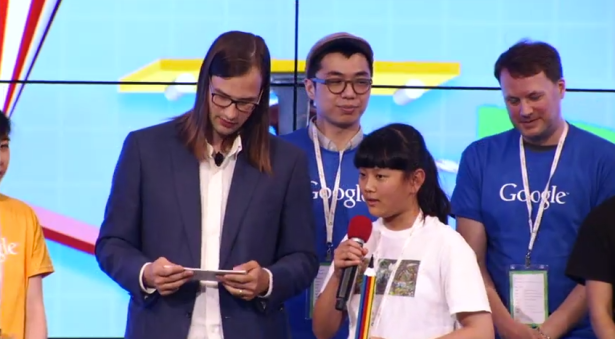 Ms. Zhang, after learning she'd won. (Screengrab: YouTube)