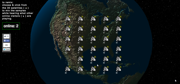 Each satellite is clickable, representing a different sound byte. (Screengrab via Dis Magazine)
