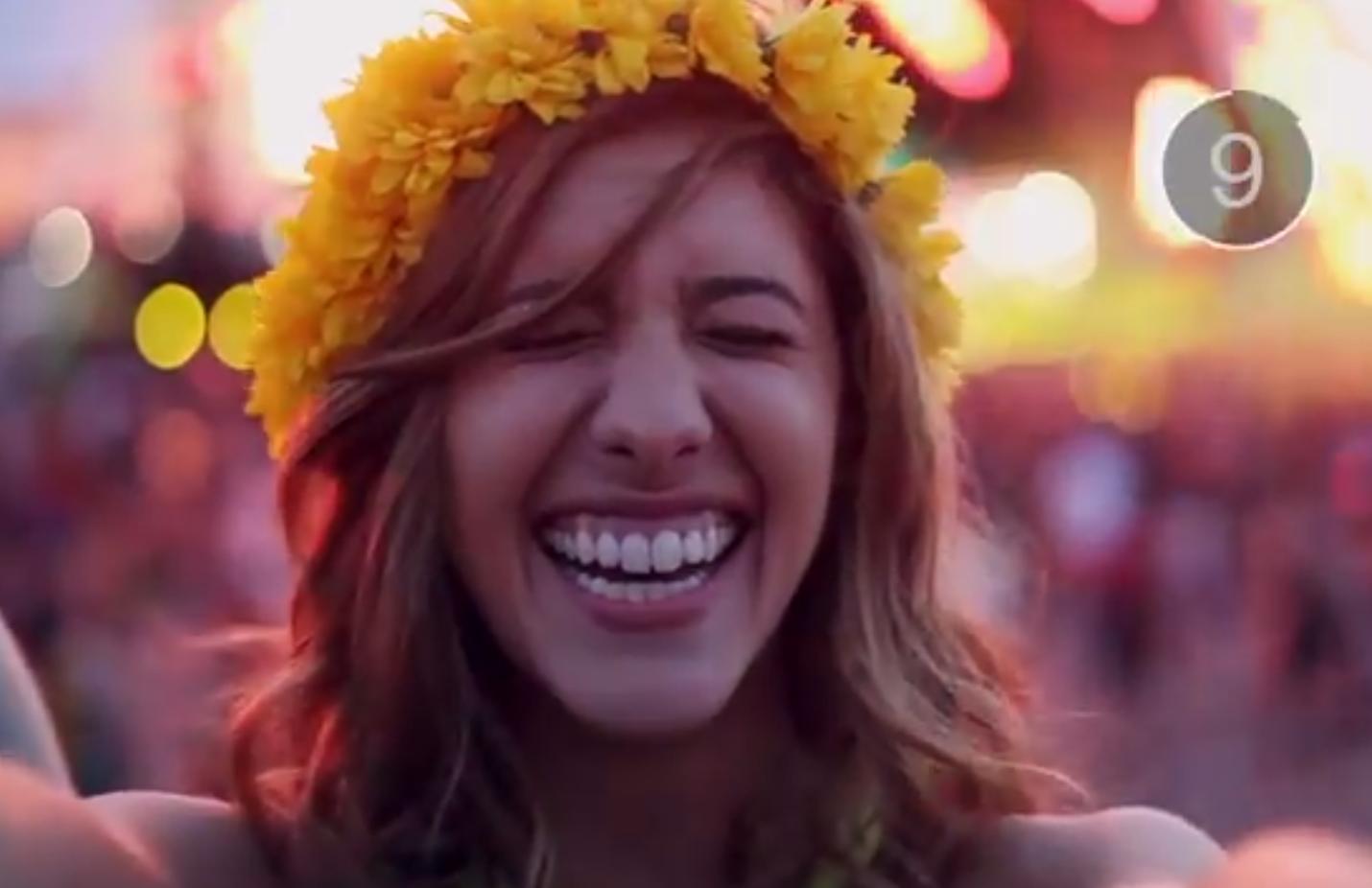 Obligatory girl in flower crown at festival. (Screengrab via Snapchat)