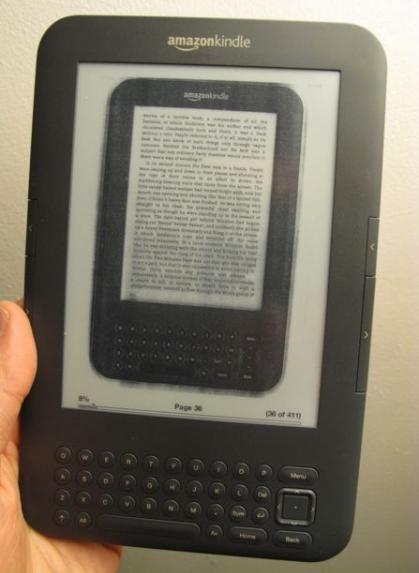 This is a picture of a Kindle displaying a digital copy of a paper book of a digital copy of a paper book. (Photo via Jesse England)