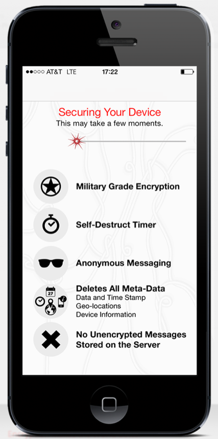 Algorithmic cryptography applies to mobile communication, in five easy emojis everyone can understand. (Photo via Wickr)