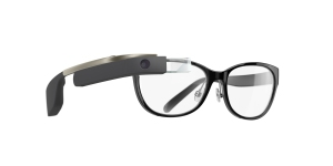 Shiny ink frames with a black Google Glass. (Photo via Marchon Eyewear)