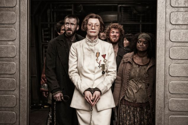 Tilda Swinton, center, in Snowpiercer.