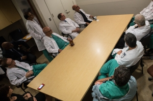 Doctors and nurses at Maimonides meet for a pre-surgical conference.