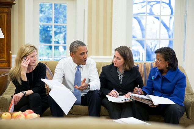 President Barack Obama meets with, from left: Kathryn Ruemmler, Lisa Monaco, and Susan E. Rice (White House Flickr photo by Pete Souza)