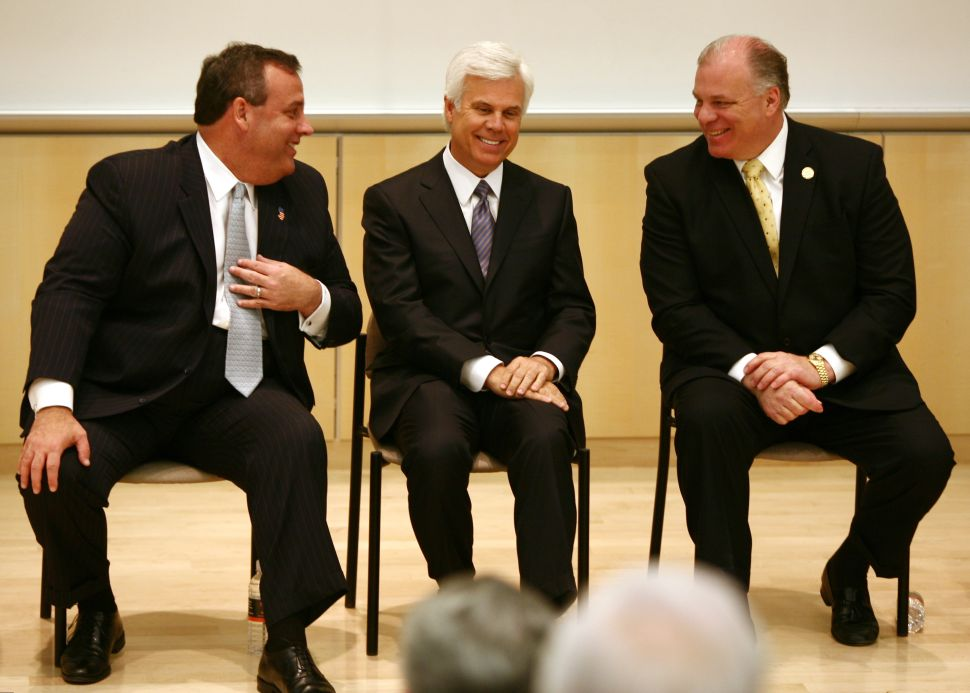 Chris Christie, George Norcross, center, and Steve Sweeney, right.