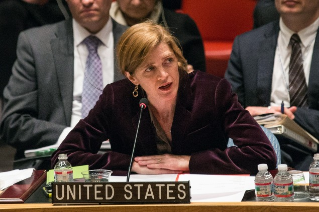 Samantha Power, Ambasaddor for the United States, in a Security Council meeting. (Photo: Andrew Burton/Getty Images)