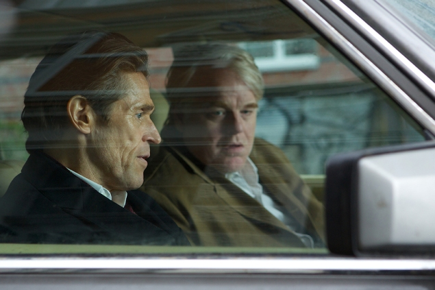 Willem Dafoe , left, and Philip Seymour Hoffman in A Most Wanted Man.
