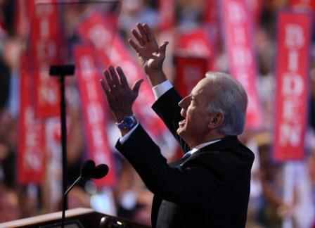 Joe Biden accepts the Democratic nomination for Vice President in Denver on Wednesday