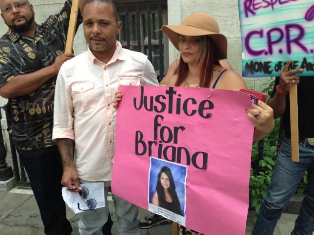 "Michael and Carmen Ojeda rally for ""Briana's Law"" in Brooklyn. (Jillian Jorgensen/Observer)"