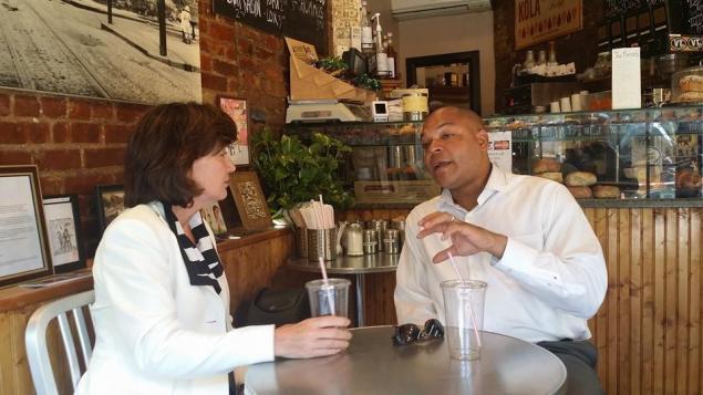 Mr. Camara and Ms. Hochul chatted in Brooklyn yesterday (Twitter/Karim Camara).