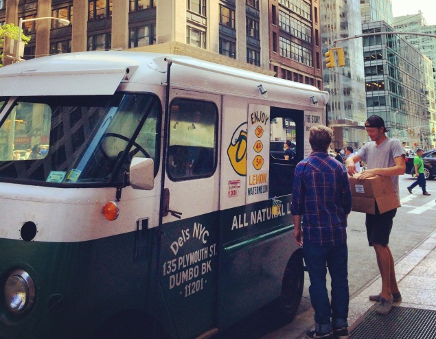 With a vintage truck and classic slushee, Del's Frozen Lemonade, a Rhode Island import,  has made it in the Big Apple. (Photo by Madeline Berg)