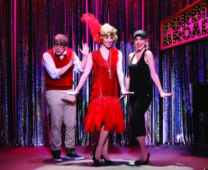 Marcus Stevens, Mia Gentile and Carter Calvert in 'Forbidden Broadway Comes Out Swinging!' (Photo by Carol Rosegg)