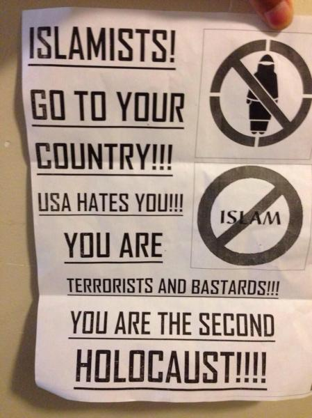 Flyer via @takeonhate Twitter account.