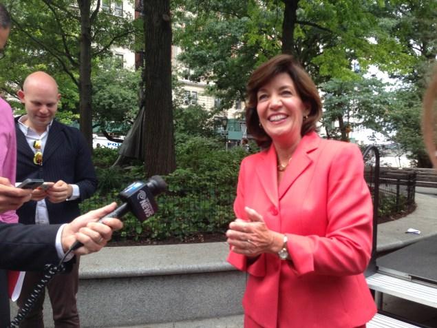 Kathy Hochul talks to the press. (Jillian Jorgensen)