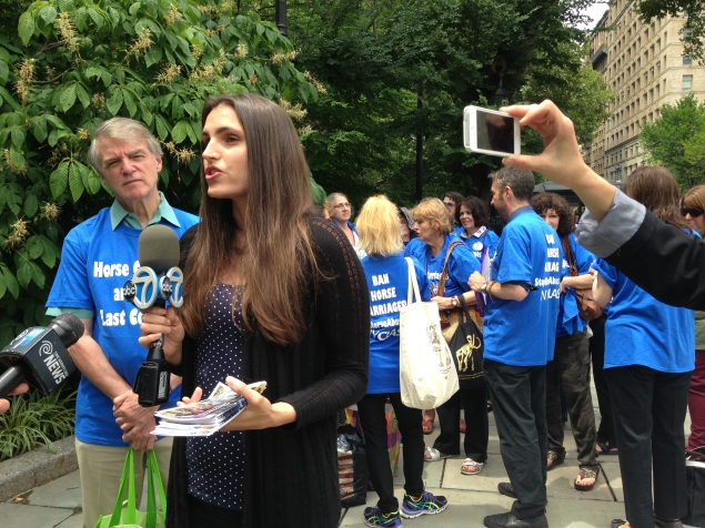 Edita Birnkrant of Friends of Animals speaks to the press as NYCLASS members gather behind her. (Jillian Jorgensen/Observer)