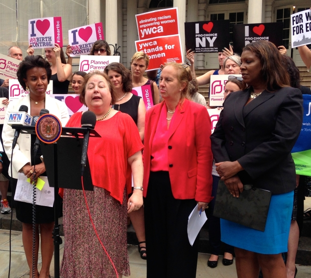 Laurie Cumbo, Liz Krueger, Gale Brewer and Tish James at City Hall. (Photo: Paula Duran)