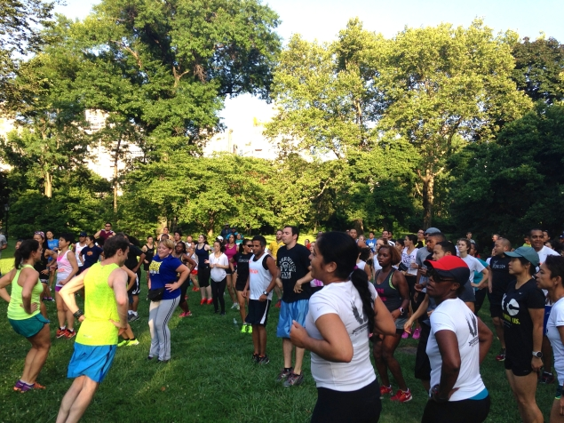 Niketown Run Club stretches in Central Park before its last Thursday session. (Photo: Paula Duran)
