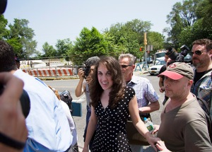 Cecily McMillan, following her release. (Photo by Daniel Cole)