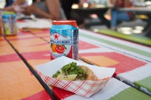 Cornmeal crostini sopes by  Andrew Field of local staple Rockaway Taco. (photo by Daniel Cole)