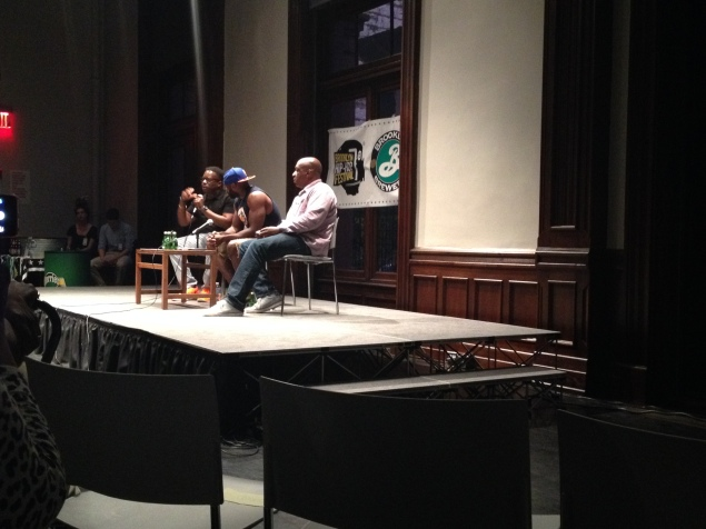 """(Photo by Emma Hernandez/Observer) BK Hip Hop Festival Founder sits with DJ Rob Swift and Ralph """"Uncle Ralph"""" McDaniels during the second """"Told It First Hand"""" panel discussion."""