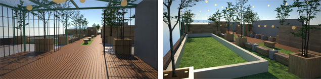 Renderings of the building's rooftop facilities. (Cayuga Capital Management)