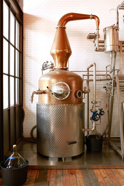 "Oleson refers to the company's pot still as their ""copper rocket ship."""