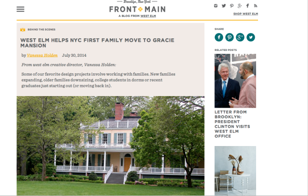A screenshot of the West Elm blog post.