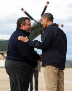 Chris Christie and President Obama following Hurricane Sandy.
