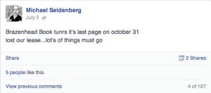 Brazenhead Books' eviction announcement (Courtesy of Michael Seidenberg Facebook page)