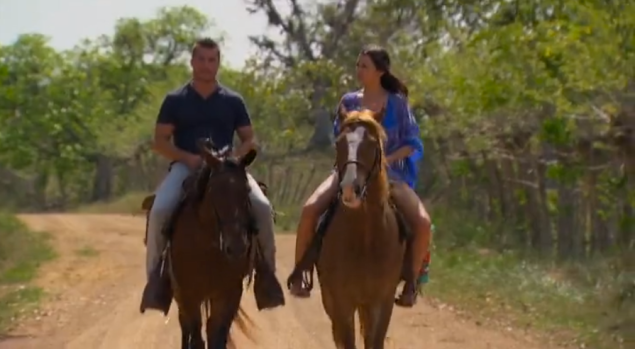 """""""I'm a little uncomfortable on the horse,"""" Andi says, which is probably a veiled metaphor for her relationship with Chris."""