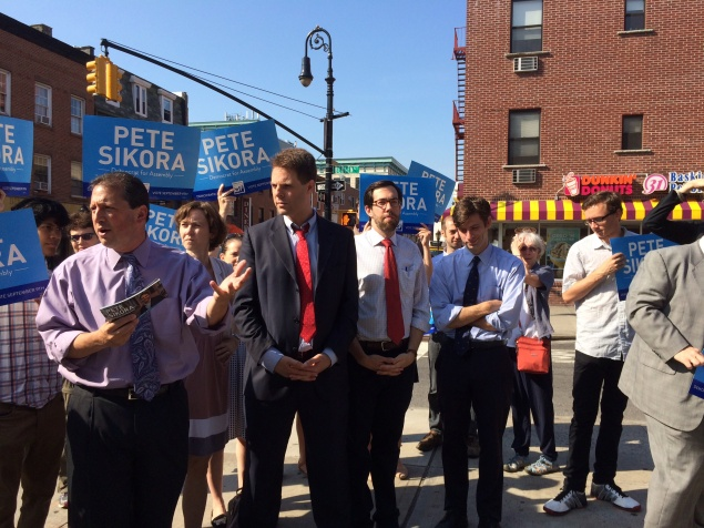 Brad Lander, Daniel Squadron, and Steve Levin endorsed Pete Sikora (Photo: Rachel Goodman).