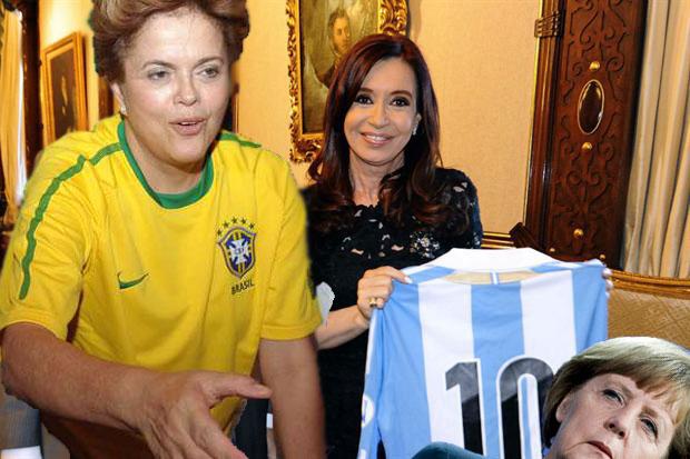 Brazilian President Dilma Rousseff with Argentinian President Cristina Fernández de Kirchner (and German Chancellor Angela Merkel)