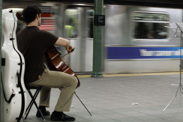 A musician plays music legally under MTA guidelines. (Getty)