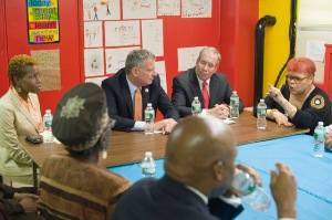 Mayor Bill de Blasio with Comptroller Scott Stringer at a press conference earlier this year. (Photo: NYC Mayor's Office)