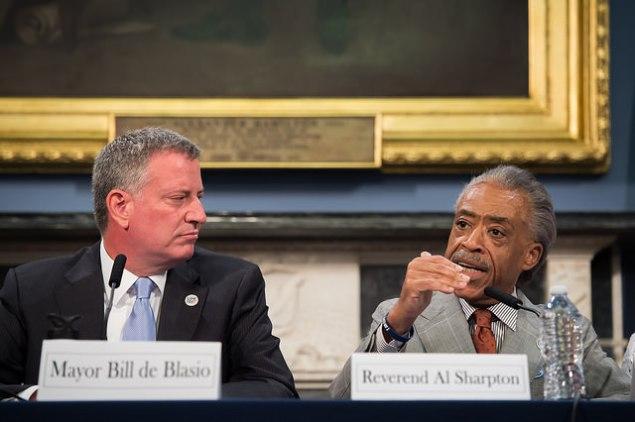 Mayor Bill de Blasio with Rev. Al Sharpton yesterday. (Photo: NYC Mayor's Office)