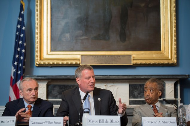 Mayor Bill de Blasio with Rev. Al Sharpton and Police Commissioner Bill Bratton. (Photo: NYC Mayor's Office)